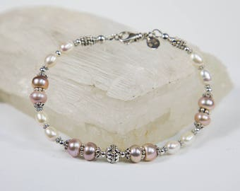 Fresh Water Pearl and Sterling Silver Bracelet