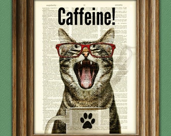Caffeine Cat has a case of the Mondays Coffee Cup Cat altered art dictionary page illustration book print