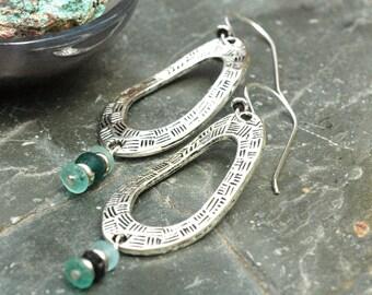 Roman Glass Earrings; Silver Hoop Earrings; Ancient Roman Glass; Turquoise Glass; Sterling Silver Earrings; Roman Glass Jewelry; Long Hoops