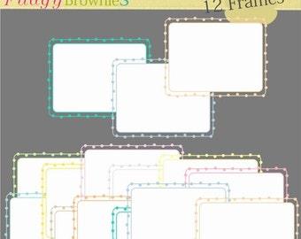 ON SALE Digital frames _ Square dot Frames Clipart, white background frame, digital scrapbooking frames.A-135 , Instant download