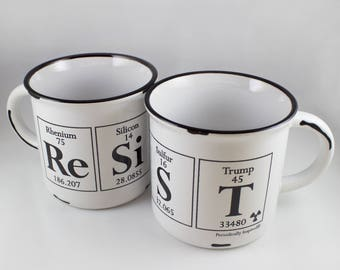 RESIST Coffee Cup -  Ceramic Mug with white interior - BIG Periodic Table & Trump-inspired Coffee Cup, 15 oz.