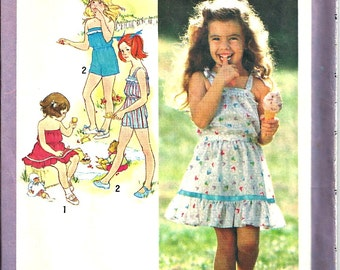 Girls Sun Dress Playsuit  Pattern Simplicity 9407 Size 6 1980's