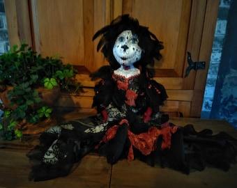 Santa Catrina - Doll - Day Of Death - Dia De Los Muertos - Halloween Doll - Handmade Doll - OOAK - Sugar Skull - Santa Muerte - Collectible