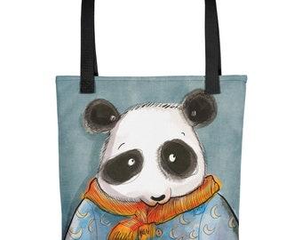Panda Tote bag, Bear Tote Bag, Panda Bear Bag, Panda Tote, Totebook, Books Bag, Kids Bag, Cute Bag