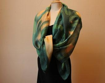 """Handpainted silk shawl/wrap/scarf, 22"""" x 70"""""""