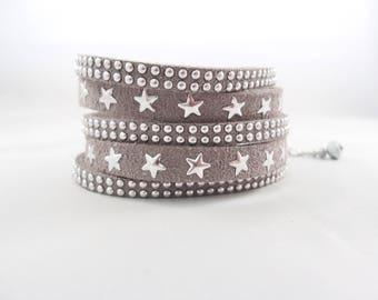 Bracelet manchette, bracelet étoiles, bracelet suédine, bracelet gris, bracelet femme, bracelet Jeune fille