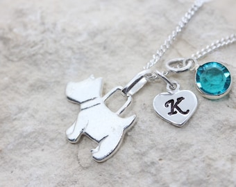 Personalized sterling silver Dog with 2 charms, choose charms and chain. sterling silver Dog pendant necklace. Silver puppy charm necklace