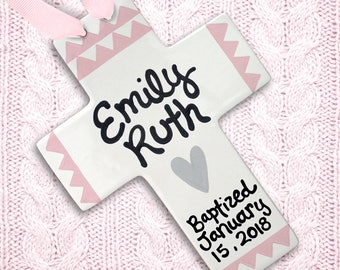 Girl Baptism Gift - Baptism Cross - Personalized Confirmation Gift - Girl Communion Gift - Decorative Cross - Gift From Godparents