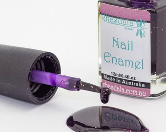 12ml Nail Polish - Voodoo - Purple With Gold Glitter