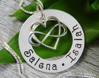 Hand Stamped Jewelry - Personalized Jewelry - Mothers Necklace - Sterling Silver Necklace - Two Names - Heart Infinity Charm