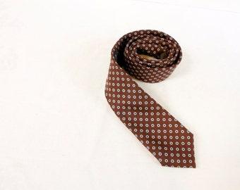 Vintage Skinny Necktie - Austin Grey Brown Skinny necktie white and blue pattern