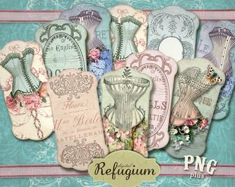 Ribbon Holder corsets /Digital Collage Sheet / Instant Download