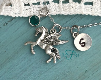 Pegasus Charm Necklace, Personalized Necklace, Silver Pewter Pegasus Charm, Custom Necklace, Swarovski Crystal birthstone, monogram