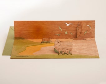 pop up cards wood with envelope - 3 sheep on dike cards