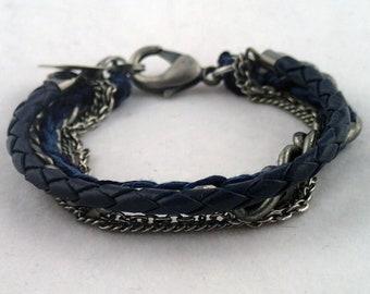 "Moody Blues Multichain Bracelet - 6 1/2"" handwoven thread, leather & multi chain bracelet. handmade to order in NYC."