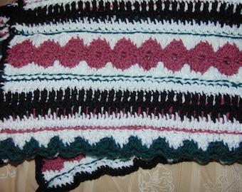 Handmade Christmas Ribbon Candy Afghan.