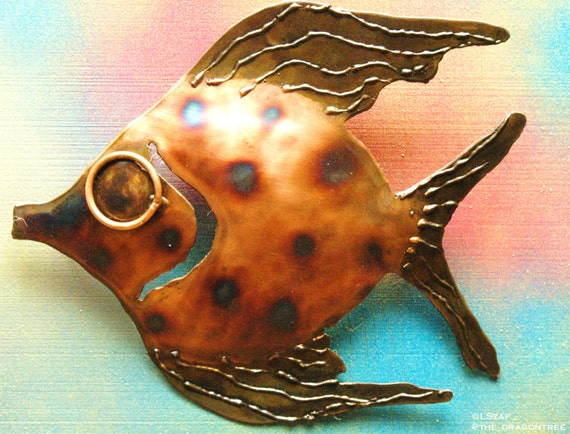 Recycled steel Angelfish, copper finish, Whimsical Series