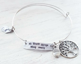 All Great Things Start Small expandable bangle