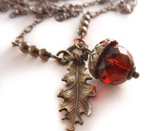 Acorn Necklace, Red Acorn Charm, Red Necklace, Fall Autumn Jewelry, Oak Leaf Necklace, long layering necklace