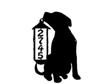 Dog and Lantern Metal Address Sign Metal House Number sign Home Decor Dog Metal Address Number Plaque,Dog and Lantern Address Number