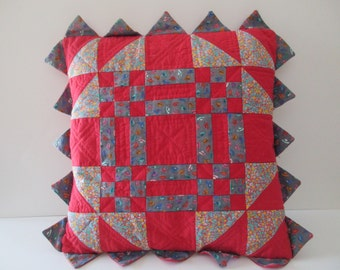 Vintage quilted square PILLOW - cotton, red, handmade