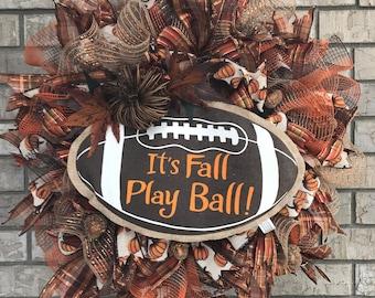 Football Wreath, Fall Decor, Door Hanger