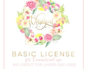 Basic Commercial License for up to 500 printed items for ONE design/listing - Whimsical Digitals