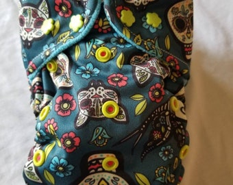 Custom  Skull  Diaper you choose type and size Nb/Sm or Onesize