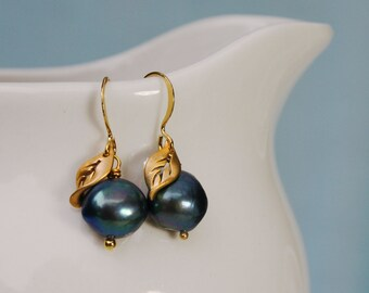 Blueberry Pearl Earrings. Gold or Silver. Navy Blue Pearl. Fruit Earrings. Tiny leaf.