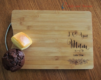 Personalised Engraved Bamboo rectangular cutting board S/S handle-Gift for Mum/Grandma-Birthday gift for her-Mothers day gift-I love you Mum