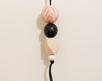 Handpainted Wooden Bead necklace | Peach fern pendant | READY TO SHIP