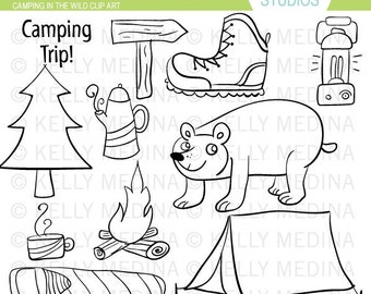 Camping Trip - Digital Stamps, Black and White Clip Art, Digital Stamps