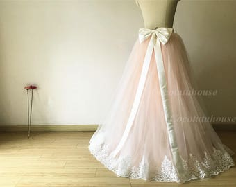 Ombre color white/blush pink Tulle Skirt With White French Lace Trim and A Bow with long Tail/Floor Length/Adult Women Skirt//Wedding Dress