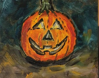 Jack O lantern is a tiny little 6 inch square painting ,just in time for Halloween