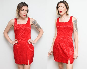 90s Red Floral Mini Dress // Sexy Velvet Detail Front Slit Square Neckline Fitted Dress Size Small 8 9 10