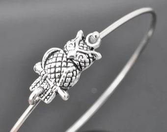Owl Bangle, Sterling Silver Bangle, Owl Bracelet, Stackable Bangle, Charm Bangle, Bridesmaid Bangle, Bridesmaid jewelry, Bridal Bracelet