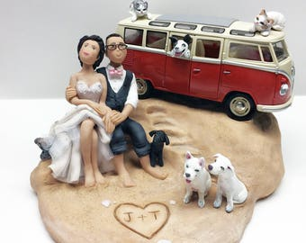 Custom Wedding Cake Topper Bride and Groom with Pets Beach Scene from Your Ideas and Photos