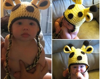Giraffe Hat with Earflaps and Braids