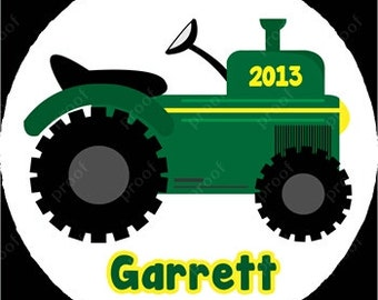 Boy Green Tractor Christmas Ornament Personalized for you Snowflake or Disc Christmas Holiday Ornament