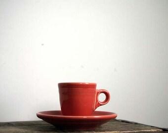 Fiestaware Persimmon Teacup and Saucer, Demitasse Set, Homer Laughlin China