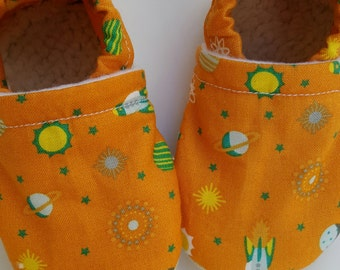 Rockets, space, planets, sun, stars, Moccasins, baby crib shoes, soft sole