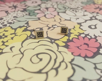 floral square earrings