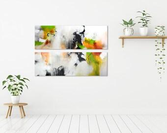 Paar oorspronkelijke XXL abstract schilderij, abstracte kunst, 2 delen extra grote acryl artwork, grote schilderijen, roze geel groen oranje wit
