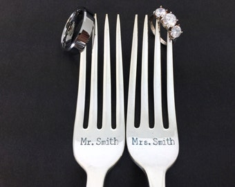 mr and mrs forks, custom wedding forks, wedding gift, wedding cake forks