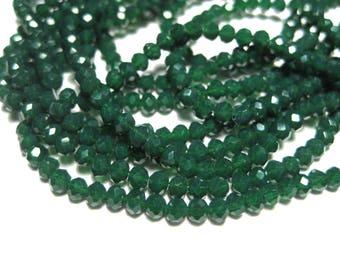 1 Strand Dark Green Faceted Imitation Jade Glass Beads 3mm( No.29)