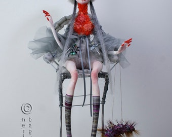 "Exclusive high fashion Art Doll ""LADY ROBIN"". Couture Doll. Static Interior Sculpture. Free shipping. Unique Christmas gift."