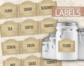 Digital Kitchen Labels - Antique Vintage Style Printable Labels - Kitchen Labels Sheet - Print Labels Set 12 Food Labels - INSTANT DOWNLOAD