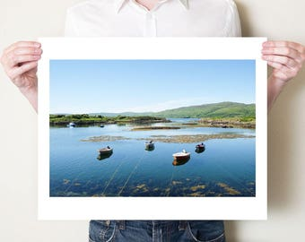 Isle of Mull fishing boats, Scotland coastal landscape photography print. Fishing boat art, Scottish art, fine art photograph, seaside decor