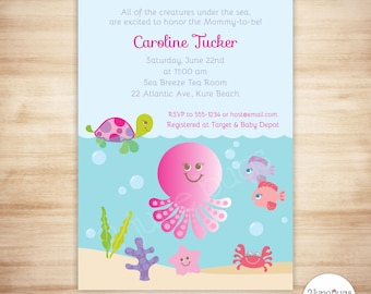 Pink Under the Sea Baby Shower Invitation - Baby Girl Shower - Beach Baby Shower Invite - PERSONALIZED & PRINTABLE