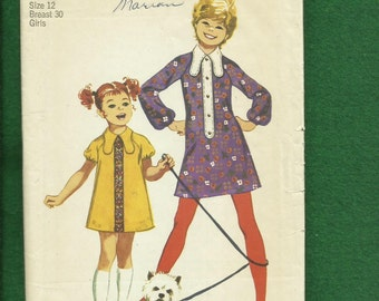 1970's Simplicity 9585 Retro Girls A-Line Dresses with Dog Ear Collar Size 12